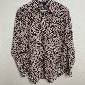 Victoria's Secret Sheer Leopard Print Blouse